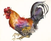 Rooster in Magenta and Gold- archival print