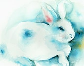 Blue- Archival Rabbit print, children, decor, nursery
