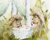 Hedgehog art - Forest Cafe- Woodland, Hedgehog Archival watercolor Large print