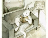 Rabbit Watercolor - A Good Book- Rabbit Art,  Large Archival print
