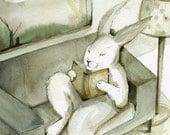 Rabbit Watercolor - A Good Book- Rabbit Art,  Large Archival print