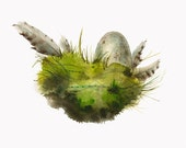 Moss Nest- Archival print, nature art, cottage chic, nature
