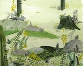 Grey Foxes in the Fern Dell Archival Print