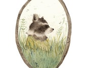 "Raccoon art, ""Loretta"" archival art print, nature, nursery decor, woodland, raccoon watercolor, gold, green - amberalexander"