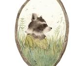 "Raccoon art, ""Loretta"" archival art print, nature, nursery decor, woodland, raccoon watercolor, gold, green"