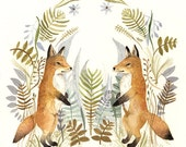 Foxes and Ferns Original Watercolor Painting