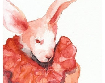Pink Grapefruit- pink rabbit art, easter, bunny
