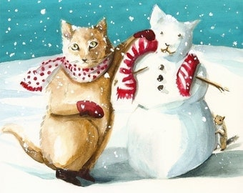 holiday decor, cat art, winter, Snow Kitten - Holiday decor, cat art