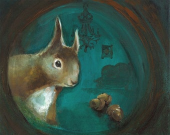 "squirrel art - ""Come On In""  (teal, woodland, whimsical, home)"