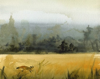 "landscape painting, landscape watercolor, landscape art print, abstract landscape, fox watercolor, ""March Fox""  Print"