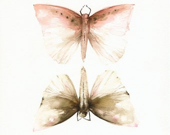 Pink and Mocha Moths-Print of watercolor