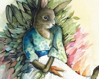 Garden Bunny- Archival Print