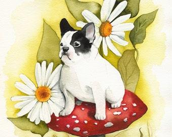 French Bulldog art, french bulldog, dog art, Forest Frenchie-dog art, french bulldog