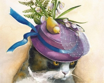 Easter Bonnet- Cat art