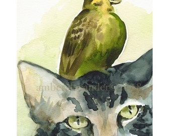 Tolerance- Cat and Bird Art