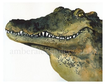 Looker- , alligator art, alligator watercolor