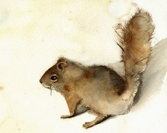 Squirrel art, squirrel painting, squirrel watercolor, nature decor, nature print