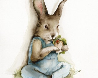 Lunch Break archival print, children, rabbit art, nursery, decor