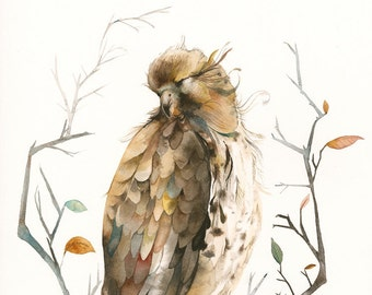 Nature Home Decor- bird art. Nature Art, raptor Watercolor print - Red Tailed Hawk