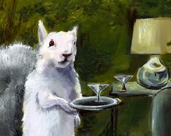 "Squirrel cards, squirrel with martini, squirrel with drink- ""Donald""- Squirrel Cards"