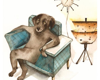 Mid Century Lab - Chocolate Lab Art