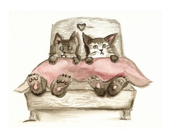 Fraidy Cats- Cat art- humor
