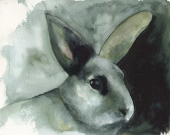 Rabbit Watercolor Print- Fern