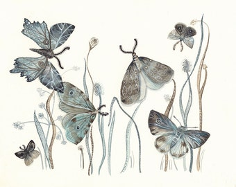 "Moths Watercolor- watercolor painting reproduction- Moths No. 2   grey, blue, taupe 8 1/2 x 11"" print"