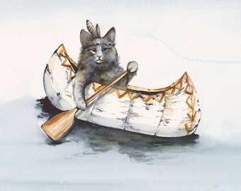 Cat Art - Cat Watercolor  - Little Brave Paddles a  Lot