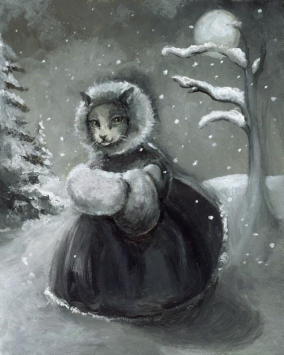Winter Stroll- cat art