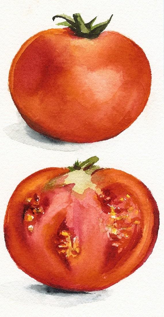 Tomatoes Watercolor Original Painting