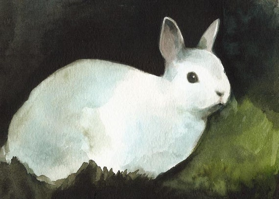 "Rabbit Art, rabbit painting, rabbit art print- rabbit watercolor ""darkness"""