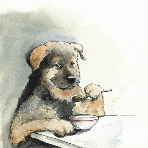Kibble Every Day.... dog art, watercolor, pet