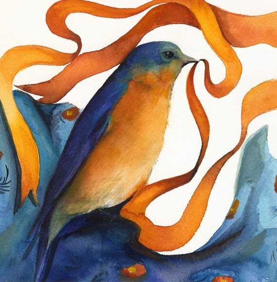Bluebird with Ribbon- bluebird art