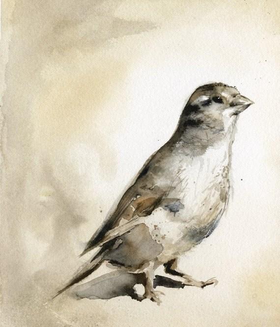 Sparrow. Bird Art-sepia, autumn, earth tones, home decor
