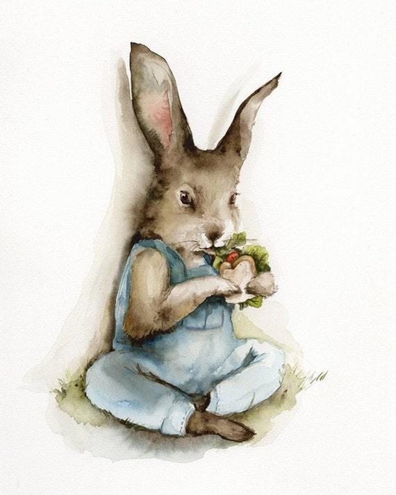 Lunch Break- Rabbit Art, children, decor, nursery, easter