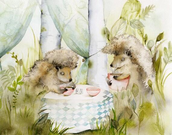 Hedgehog art - Forest Cafe- Woodland, Hedgehog Archival watercolor Large print