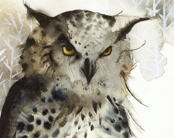Owl painting, owl watercolor print, owl art print, Great Horned Owl- Large Archival Art Print, Owl art