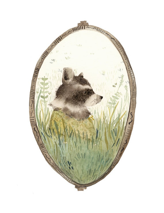 "Raccoon art, ""Loretta"" archival art print, nature, nursery decor, woodland, raccoon watercolor, gold, green"