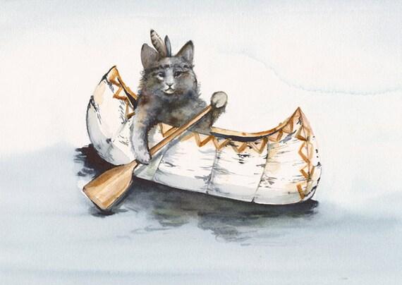 Cat Art - Cat Watercolor  - Little Brave Paddles a  Lot