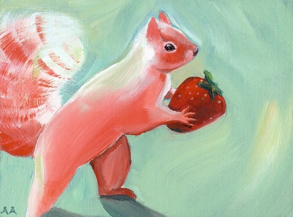 Squirrel Art - Jane Steals a Strawberry