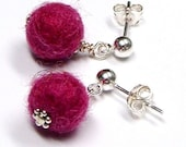 Fuzzy Felted Drop Earrings . Magenta