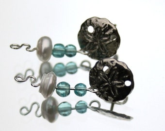Silver Sand Dollar Earrings with Pearl and Apatite