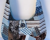 Patchwork Brown Blue Tote Bag