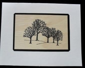One (1) Stamped Trees on Real Wood Veneer Thank You Card, Blank Inside