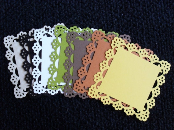 One(1) Set of 25 Lace Edge Punched Gift Tags, Favor Tags, Thank You Tags, Place Cards, Notecards