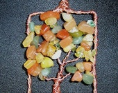 Fall Tree of Life necklace - Copper and Semi Precious stones in Autumn Colors - Opal Peridot Amber etc