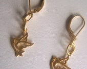 Dove Earrings in Gold - Gold Dove Earrings - Gold fill Lever back Ear wires with Gold Vermeil Dove  - Christmas Earrings - Christian dangle