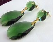 Large Emerald  Green Earrings - ANgelina Jolie Costume Earrings - Gold Plated - Large Green earrings - Hand cut prisms