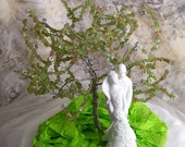Spring Wedding Cake Topper - Tree of Life with White Porcelain Couple figurine - Peridot gemstone leaves with Pink  Rhodochrosite flowers